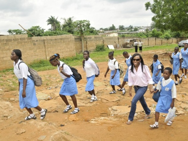 Oluwadara Johnson '10 organized a performing-arts-themed camp for disadvantaged girls last summer in Ibadan, Nigeria. Here, she picks up the girls from a meeting point to bring them to the site of the camp.