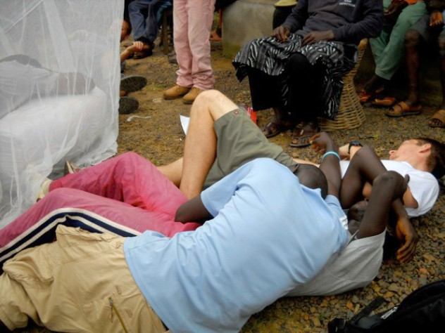"The malaria skit's dramatic ending: after a brush with the insecticide-treated net, the ""mosquitoes"" writhe around and die. The people who don't sleep under the net also keel over; the only survivor is Sengeh, who in the skit's last moments wakes up healthy."