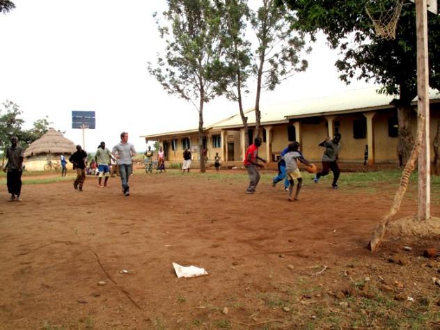 Playing basketball on the orphanage grounds