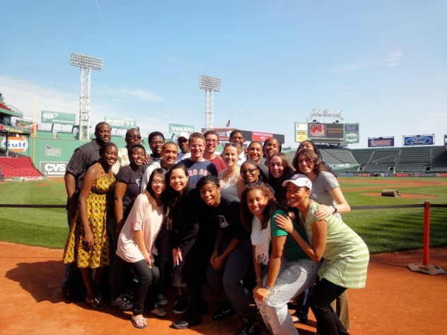 The Kuumba Singers take the field for their sound check. The author is at far right, in the second row.