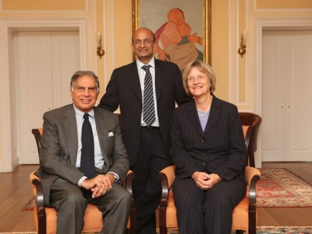 Ratan Tata, Nitin Nohria, and Drew Faust at Harvard Business School.