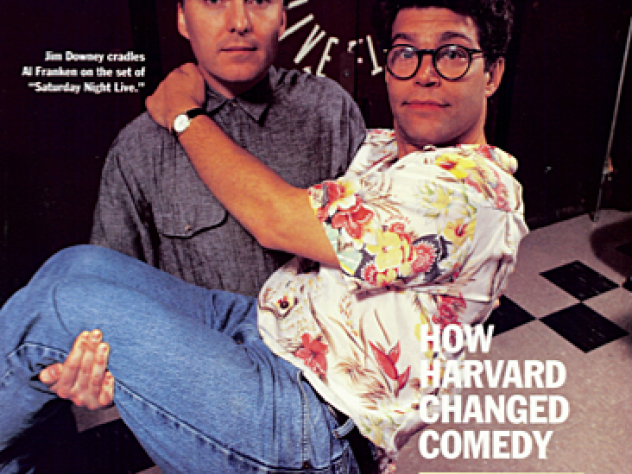 """The July-August 1992 issue of <em>Harvard Magazine</em> featured Jim Downey and Al Franken on the set of """"Saturday Night Live"""""""