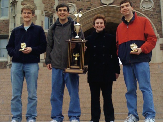 Seniors John D. Lesieutre, Kyle Haddad-Fonda, Julia Schlozman, and Adam N. Hallowell are national Quiz Bowl champions.