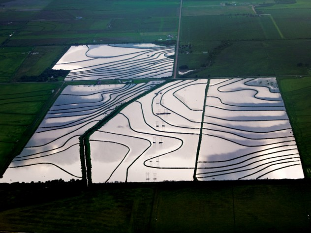 Welsch, Louisana  - Before rice is planted, the earth is flooded with elevated groundwater. This process, known as wet seeding, is extremely water intensive, and pumping can become costly. The flooded land also serves as an ideal environment for methane production. Methane, a major greenhouse gas, is about 23 times more potent than carbon dioxide.