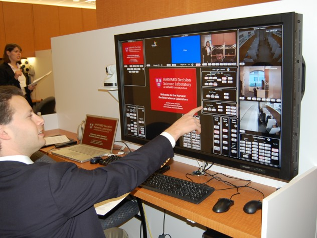 A jumbo touchscreen allows the person running an experiment to control what appears on participants' screens.