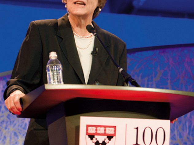 "As the Business School trains leaders, Drew Faust asked, how can Harvard best determine ""the sort of differences they will make?"""