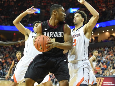 Sophomore Zena Edosomwan (shown here against Virginia) emerged as a more consistent post presence during Harvard's three-game road trip.