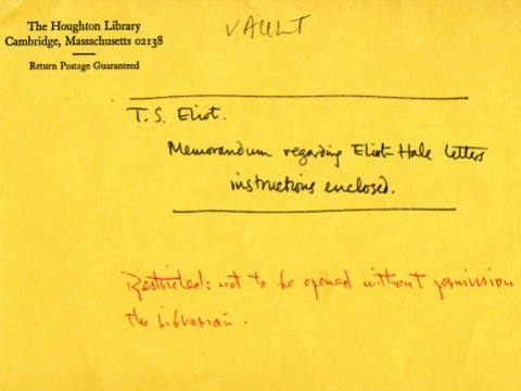 "An official Houghton envelope with the words: ""Memorandum regarding Eliot Hale letters, instructions enclosed."""