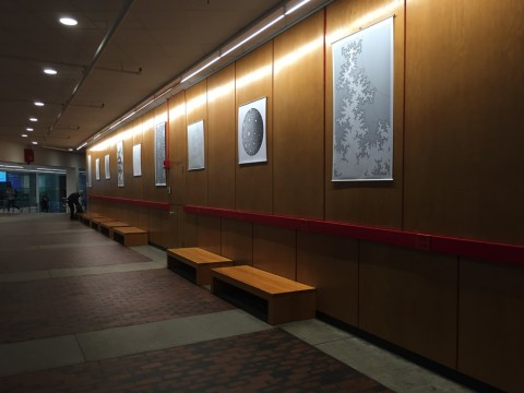 Curtis McMullen's prints hang in the Science Center lobby