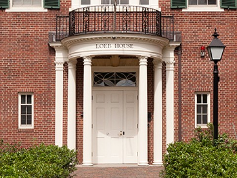 Photograph of entrance to Loeb House, where Harvard governing boards convene