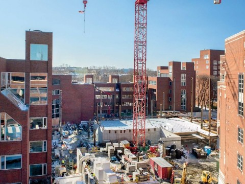 Construction work in progress at the Harvard Kennedy School