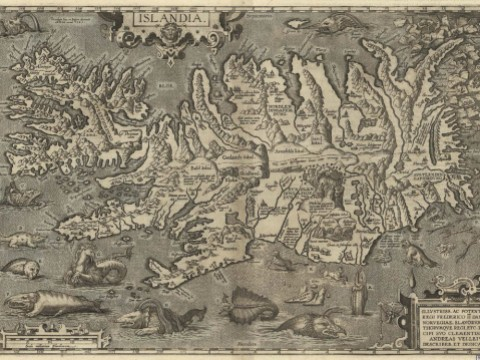 A detailed 1598 map of Iceland, with monstrous sea creatures in the surrounding waters and polar bears on ice flows.