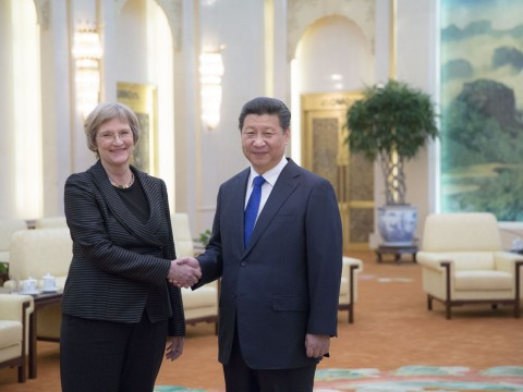 Harvard President Drew Faust meets with President Xi Jinping of the People's Republic of China inside the Great Hall of the People, in Beijing.