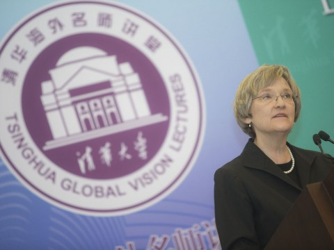 President Drew Faust delivering her address on climate change at Tsinghua University