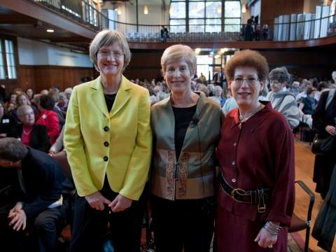 Drew Faust, Helen Horowitz, and Radcliffe Institute Dean Lizabeth Cohen