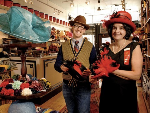 "Nancy Sinsabaugh and Salmagundi proprietor Jessen Fitzpatrick display the ""ladies top hat."""