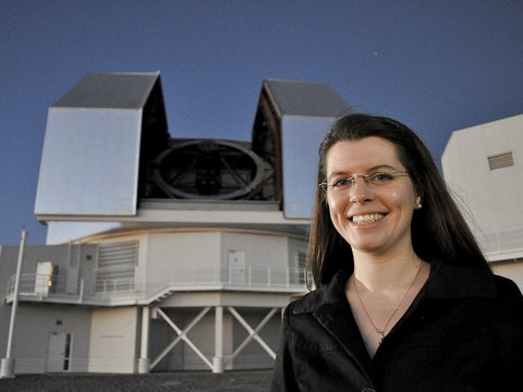 Astrophysicist Anna Frebel, outside and (below) observing at the twin 6.5-meter Magellan telescopes in Chile.