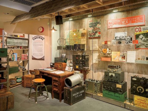 "First of four photographs showing the ""Radio Contact"" exhibit at Harvard's Collection of Historical Scientific Instruments"