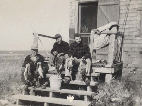 Fred Crafts (at right), with classmate Bob Krumveida (left) and a friend, Bob Ciccone, at Monomoy in November 1949