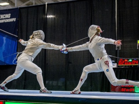 Adrienne Jarocki '17 (right) squares off against Yale's Joanna Lew.