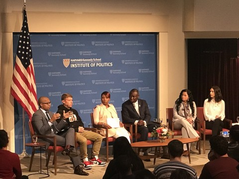 At the JFK Jr. Forum on Monday, panelists discussed the case surrounding Michael Brown's death. From left, Khalil Gibran Muhammad, Jason Pollock, Lezley McSpadden, Benjamin Crump, Jasmine Rand, and Ashley Spillane.