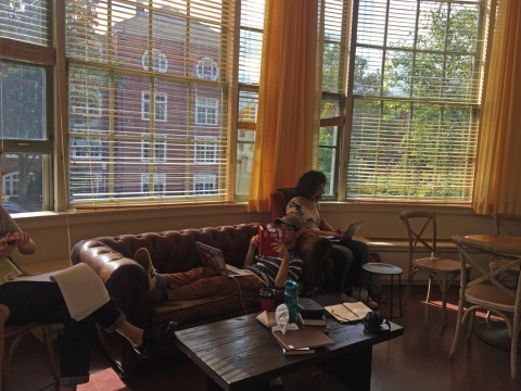 Students studying in the Barker Café