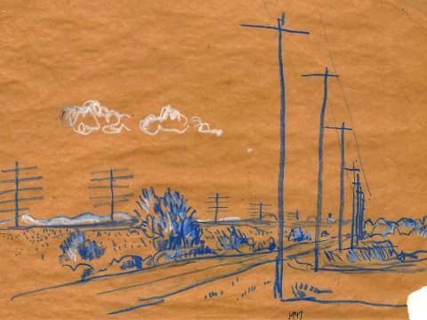 J. B. Jackson drawing of telephone poles on open plain