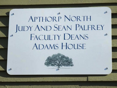 Image of sign on Adams House faculty dean residence
