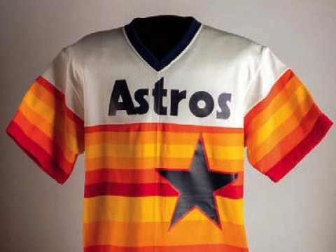 Photo of red, white, and orange Houston Astros jersey from 1983 worn by pitcher Joe Niekro