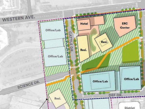 Project plan showing first and proposed second phases of Enterprise Research Campus development in Allston