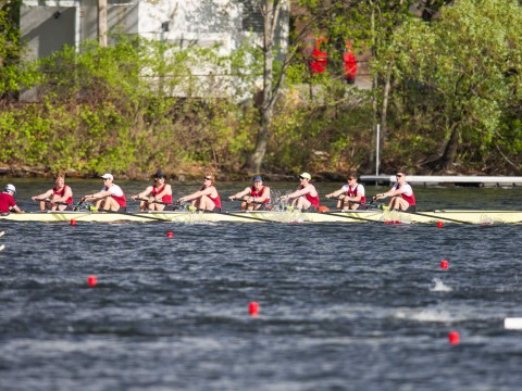 The undefeated varsity heavies in action at the Sprints