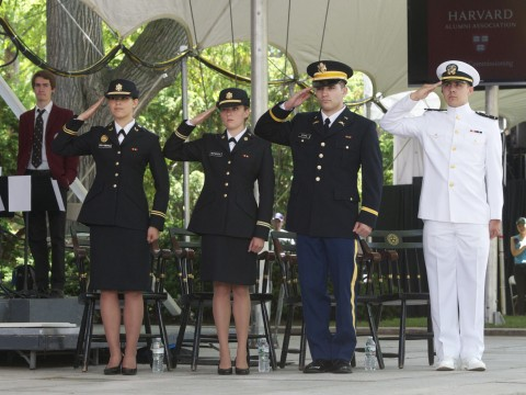 The class of 2015's ROTC contingent (from left): Second lieutenants Sophia Chua-Rubenfeld, Molly McFadden, and William Scopa, and Ensign Sebastian Saldivar