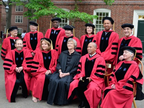 Back row from left: Robert Axelrod, Wallace S. Broecker, Denis Mukwege, Patricia A. Graham, Linda B. Buck, Bryan Stevenson, and Peter Salovey. Front row from left: Alan Garber, Renée Fleming, President Drew Faust, Deval L. Patrick, and Svetlana L. Alpers