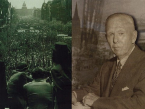 Challenges and response (clockwise from upper left): Prague residents watch a Communist May Day parade in 1948; the Secretary of State; physical destruction in Münster, Germany in 1945; Marshall in the Commencement procession.