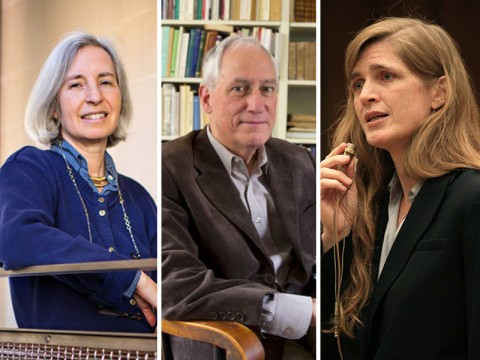 From left: Martha Minow, Robert Darnton, and Samantha Powers