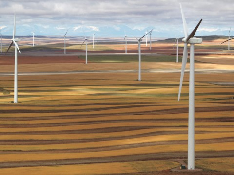 Electricity from towering turbines: wind-energy farm in Ethridge, Montana
