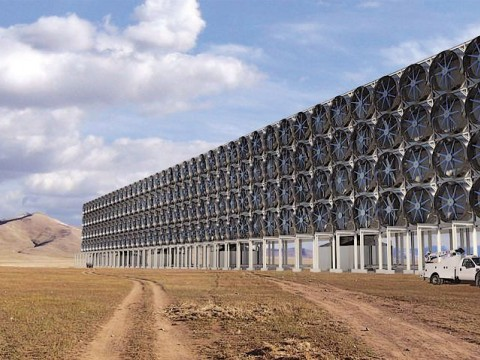 A rendering of David Keith's proposed modular carbon-capture plant; he says such plants will not solve the carbon emissions problem.