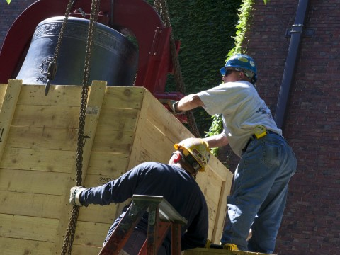 A new bell was installed yesterday in Memorial Church's belfry.