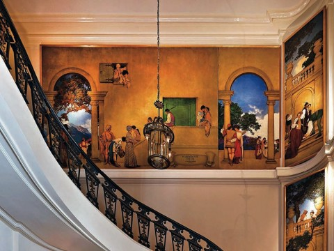 Panels from <i>A Florentine Fete,</i> by Maxfield Parrish, loom over the museum's lobby.