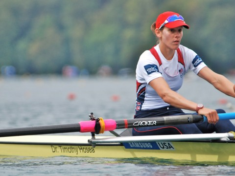 Caryn Davies rowing in a pair in 2011