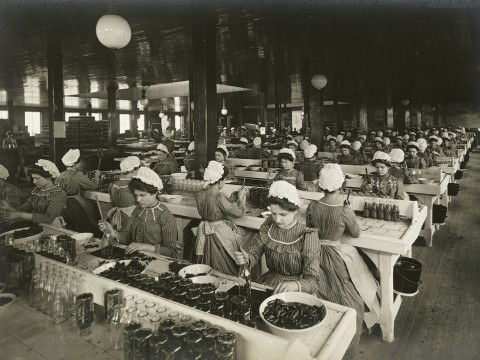 <i>Industrial Problems, Welfare Work: United States. Pennsylvania. Pittsburgh.H.J. Heinz Company: Bottling Department, </i> c. 1903. Gelatin silver print.