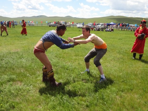 James Watkins '16 participates in an individual wrestling competition in Mongolia.