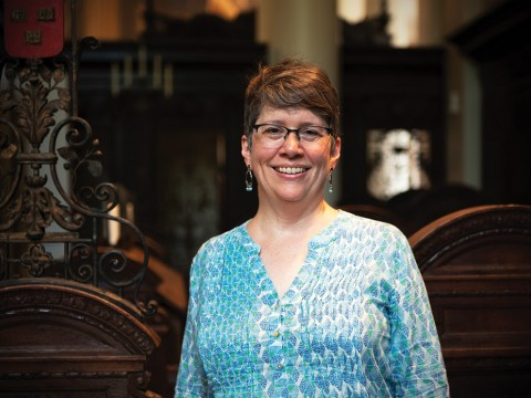A portrait of Stephanie Paulsell, interim Pusey Minister in the Memorial Church