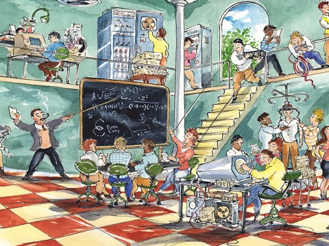 Illustration imagining the evolution of computer science at Harvard in a playful way