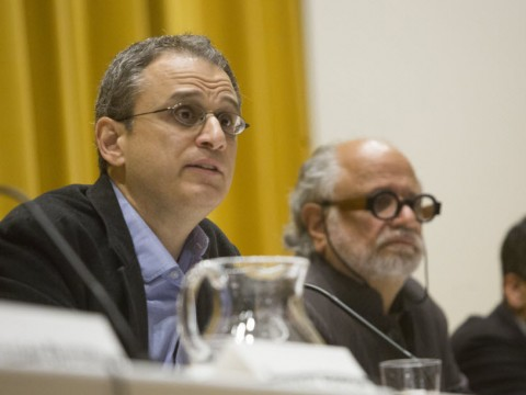 William Deresiewicz (left) and his host, Mahindra Humanities Center director Homi K. Bhabha