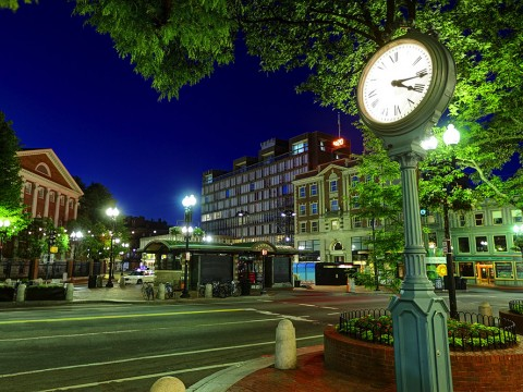 Harvard Square at night