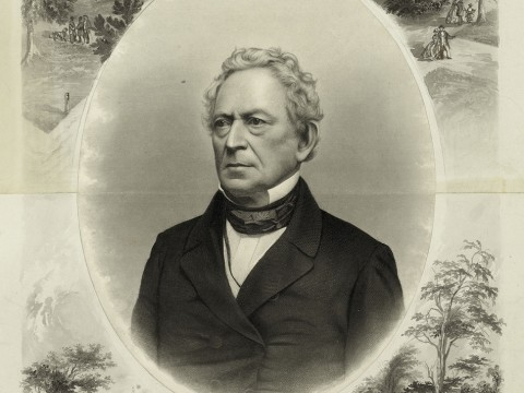 """J.C. Buttre's portrait, probably drawn when Everett ran for vice president on the Constitutional Union Party ticket in 1860, links him to Harvard and George Washington, one of his favorite subjects. (His lectures raised more than $100,000 to help purchase Mount Vernon [see <a href=""""http://harvardmagazine.com/2011/05/granny-talk"""">""""Granny Talk""""</a>], and he wrote the entry on Washington for the 1860 <i>Encyclopaedia Britannica.</i>)"""