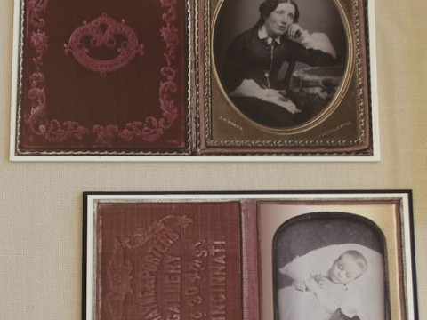 Photographs of abolitionist Harriet Beecher Stowe and her son Samuel, who died at 18 months