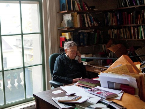 Daniel Aaron in his Harvard office