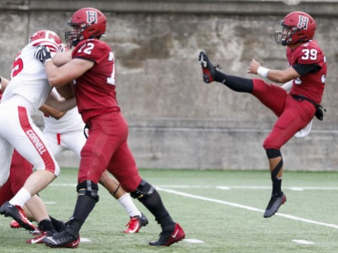 Sophomore Jon Sot averaged a staggering 56.3 yards on three boots. Meanwhile, a second Crimson punter, junior Sean McKeough, also had a booming day, averaging 41.2 yards on four kicks.